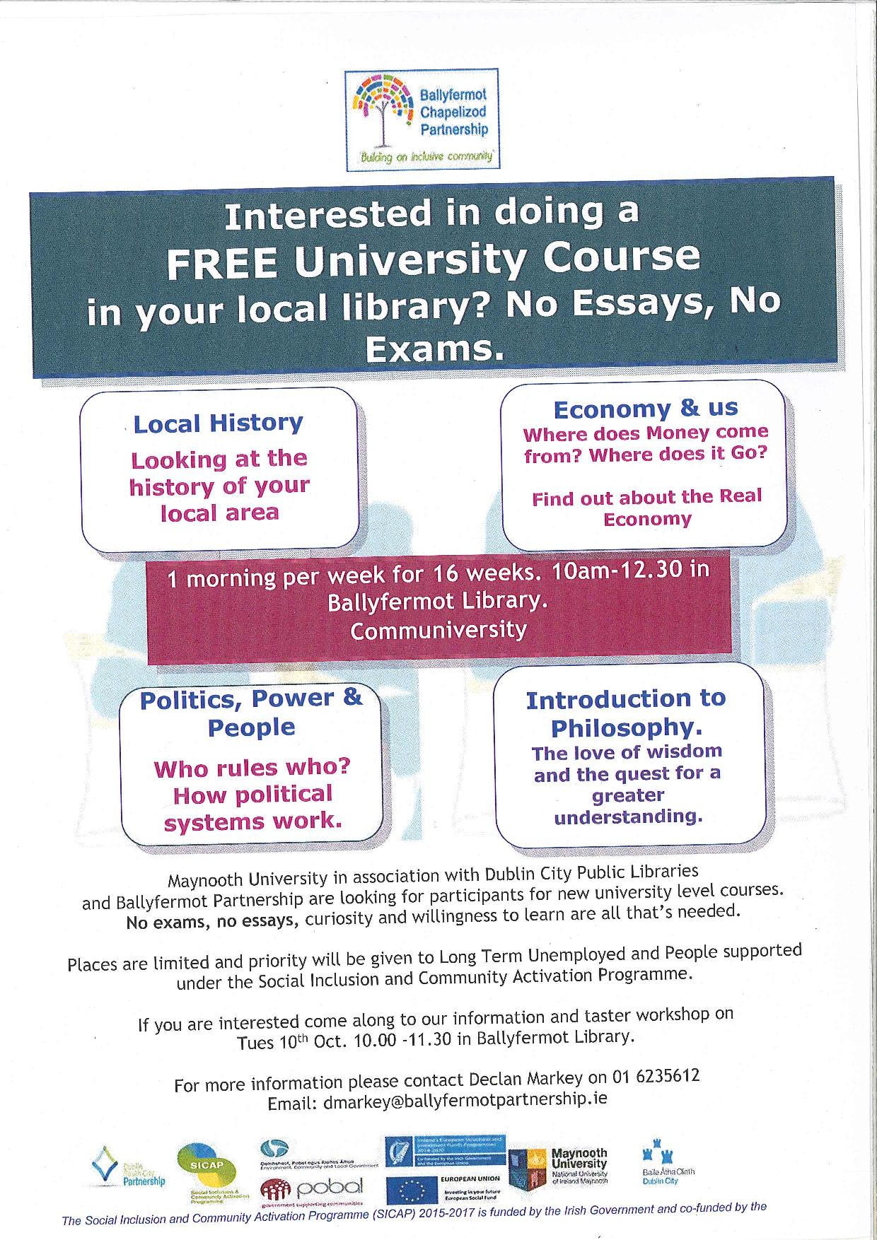 university course for free! | ballyfermot family resource centre clg